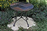 Cheap Outdoor Interiors Slate Mosaic Accent Table with Metal Base, 24-Inch, Charcoal