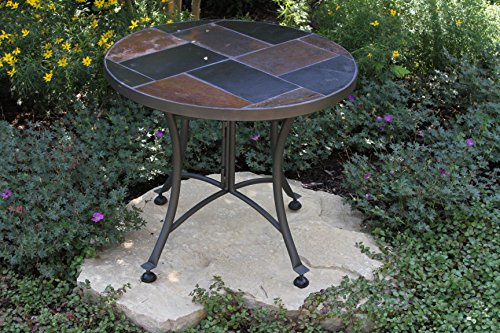 picture of Outdoor Interiors Slate Mosaic Accent Table with Metal Base, 24-Inch, Charcoal