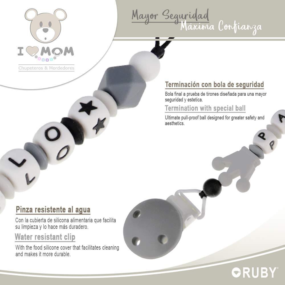 Chupetero de Corona RUBY Gris con 3 agujeros de seguridad Chupetero personalizado para bebe con nombre bola silicona antibacteria con pinza redonda de pl/ástico 2/º unid al 15/% de desc