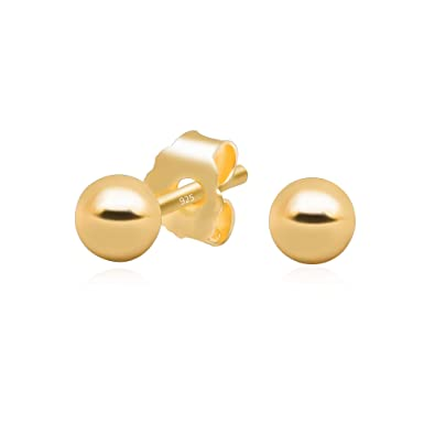 6d8b46d22 14k Yellow Gold Plated 925 Sterling Silver Plain Smooth Round Bead Ball  Stud Earrings, 3mm