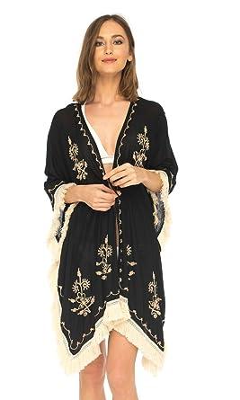 6e836a3942 SHU-SHI Womens Boho Kimono Beach Swimsuit Cover Up Cardigan Embroidery Black