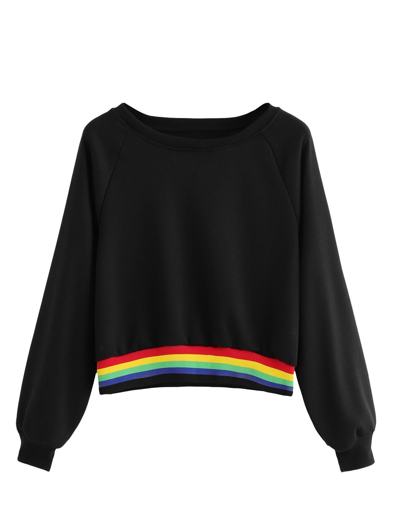 SheIn Women's Raglan Sleeve Rainbow Striped Colorblock Crewneck Crop Top Sweatshirt Black Medium