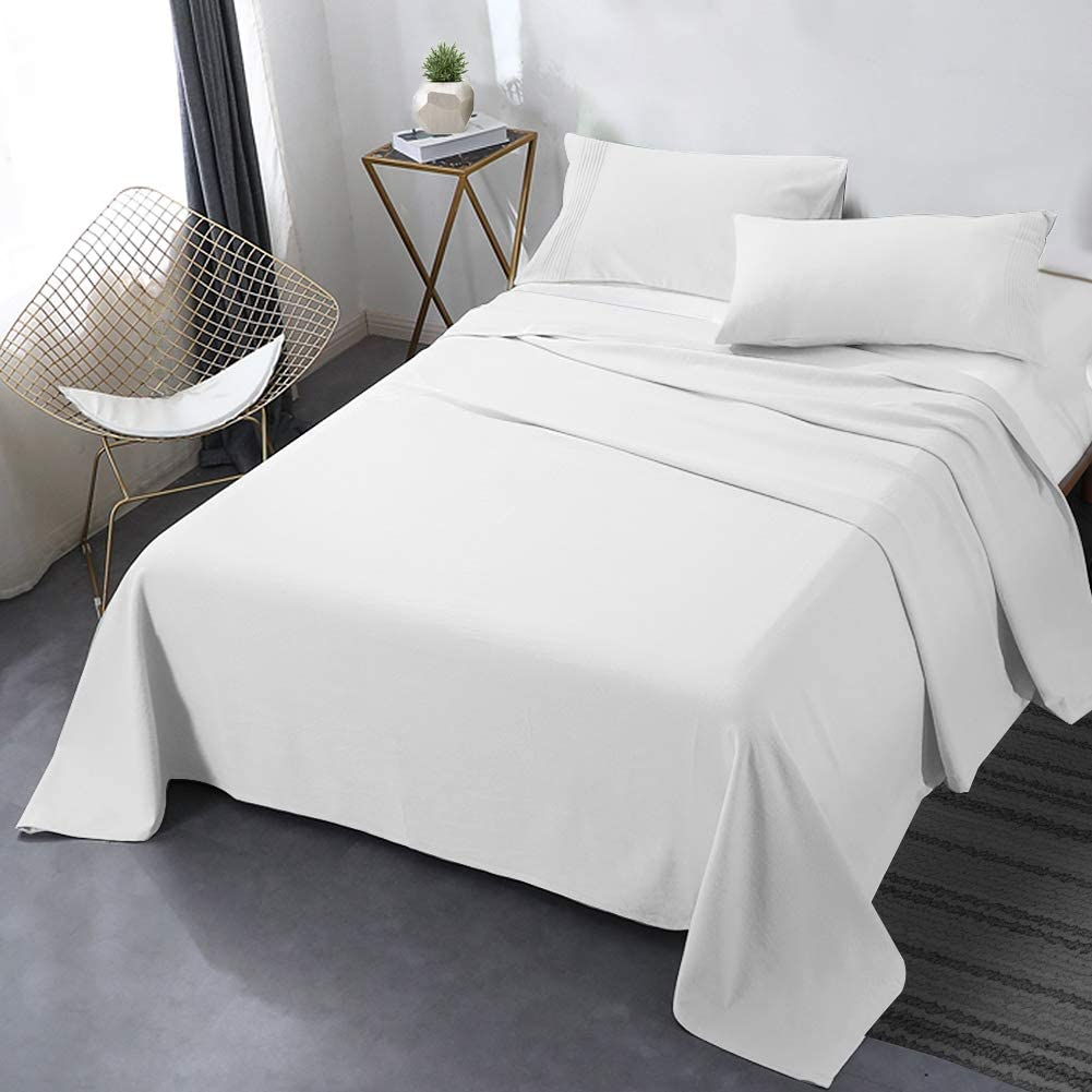 """Secura Everyday Luxury Queen Bed Sheet Set 4 Piece - Soft Microfiber 1800 Thread Count 16"""" Deep Pocket Sheet Sets - Hypoallergenic, Wrinkle & Fade Resistant (White): Home & Kitchen"""