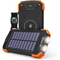 Blavor 10000mAh Qi Portable Solar Power Bank compatible with iPhone XR/ XR MAX/ XS/ X/ 8/ 8plus, Samsung Galaxy S9/S9plus S8/S8plus and all qi-enabled devices