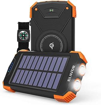 Blavor 10000mAh Qi Portable Solar Power Bank