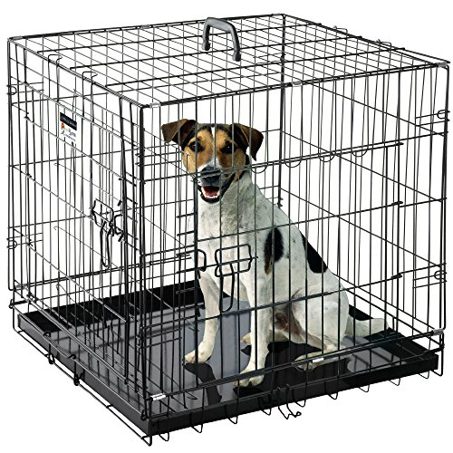 h Dog Crate Folding Pet Crate Double Door Kennel for Dogs, Cats or Rabbits, 24