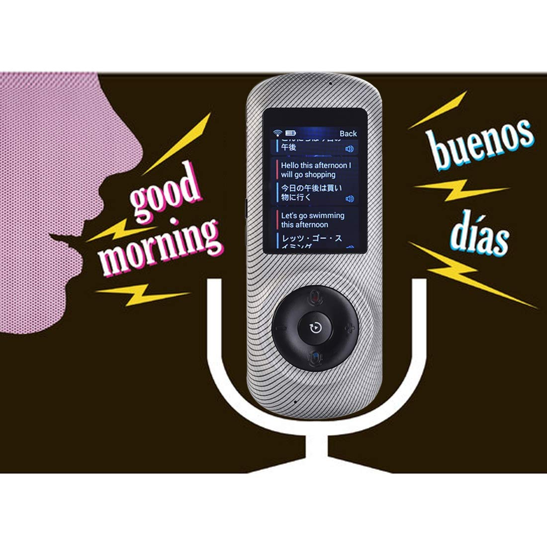 Instant Voice Translator Device Translation 45 Languages Smart 2 Way WiFi 2.4inch IPS Capacitive Touch Screen by Aspiring (Image #3)