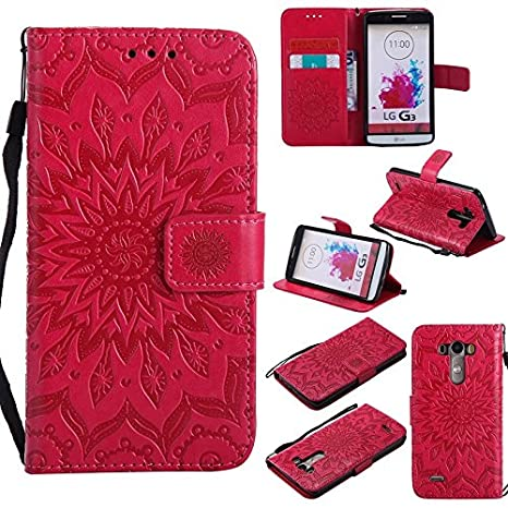 YHUISEN LG G3 Case, Sun Flower Printing Design PU Leather Flip Wallet Lanyard Protective Case with Card Slot/Stand for LG G3 (Color : Rose Gold)