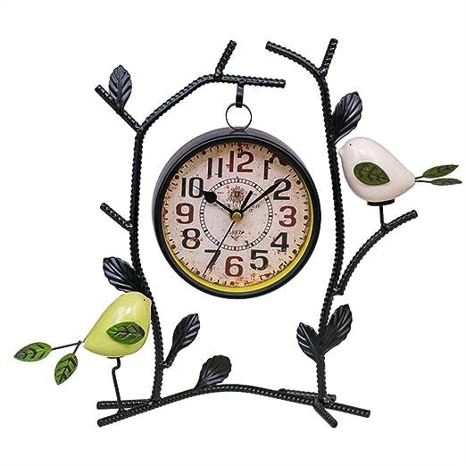 A-ZHP Relojes de Escritorio Escritorio Reloj Jardín Creativo Silencio Sin tictac Reloj de Mesa Salón Decoración del Dormitorio Adornos Reloj Reloj de Ave: Amazon.es: Hogar