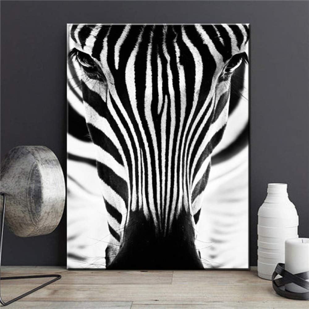 LiMengQi Arte de la Pared Lienzo Pintura Sala de Estar decoración Blanco y Negro Cebra león Elefante Leopardo Caballo (sin Marco)