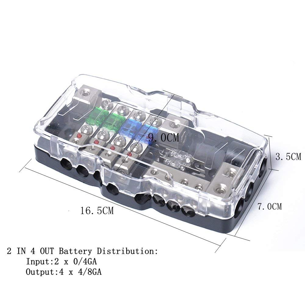 Amazon.com: Car Audio Stereo Distribution Fuse Block Ground Mini ANL Fuse  Holder Distribution 0/4ga 4 Way Fuses Box 30A 60A 80Amp Red LED: Automotive