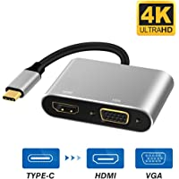 USB C to HDMI VGA, Type C to Digital AV Multiport Adapter Dual Screen Convertor for MacBook/ChromeBook Pixel/Galaxy S8 and Other Type-C Devices