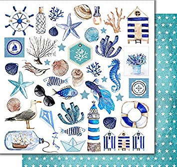 KORA projects Kit Scrapbooking Cartes en Anglais Sea Time