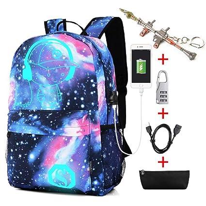 Kuccy Mochila luminosa con Puerto USB/Bolsa de lápices/Cerradura de contraseña/llavero, Bolsa de cuaderno Computadora de Impresión al aire libre Boy ...