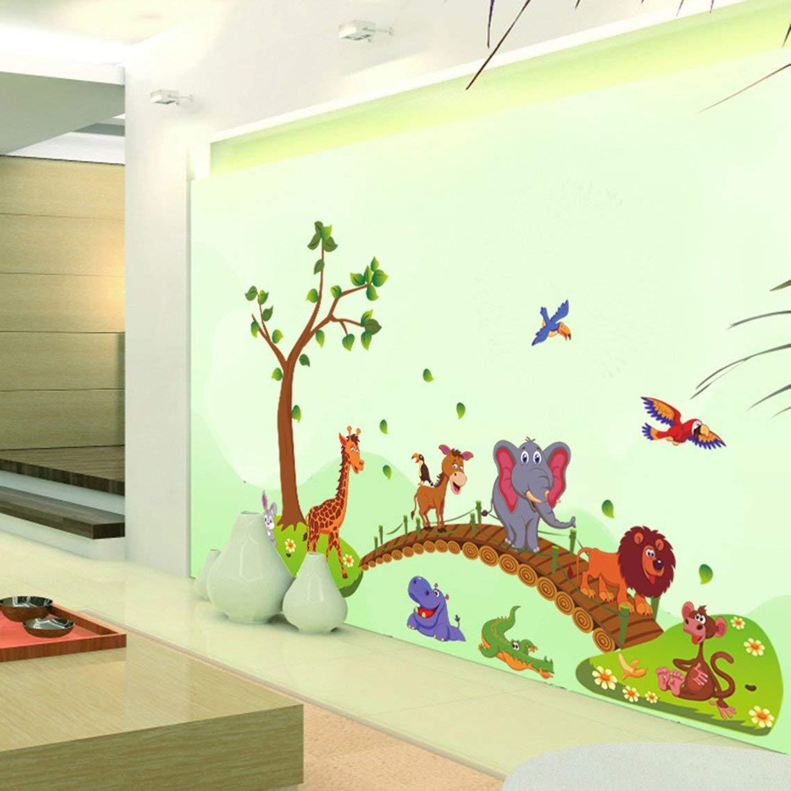 Zinniaya Kawaii Jungla Grande Animales Puente PVC Pegatinas de Pared Dormitorio de los ni/ños Wallpaper Tatuajes de Dormitorio Infantil Decoraci/ón