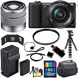 Sony Alpha a5100 Mirrorless Digital Camera with 16-50mm Lens (Black) + Sony SEL 1855 18-55mm Zoom Lens + 32GB Bundle 11 - International Version (No Warranty)
