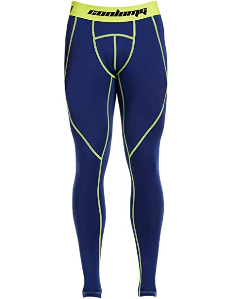 ce55e01302 COOLOMG Men's Compression Pants Running Tights Baselayer Capirs Pants Cool  Dry Sports Leggings Navy Blue+