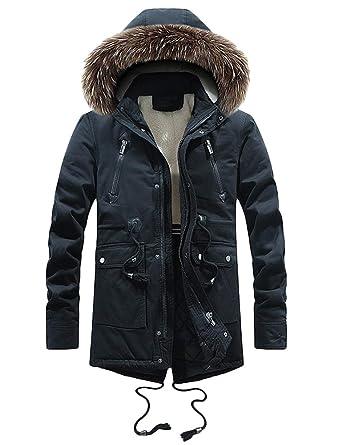 Mallimoda Blouson Homme d hiver Capuche Col en Fausse Fourrure Manteau  Chaud Épaissir Parka Mi d3a9ea548181
