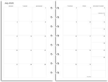 Separated, Booklet TUL June 2021 Academic Year Monthly Planner Two Styles 40 Sheets Premium Heavyweight Discbound Notebook Paper for Circa Junior Size Arc Monday Start Eleven Discs July 2020