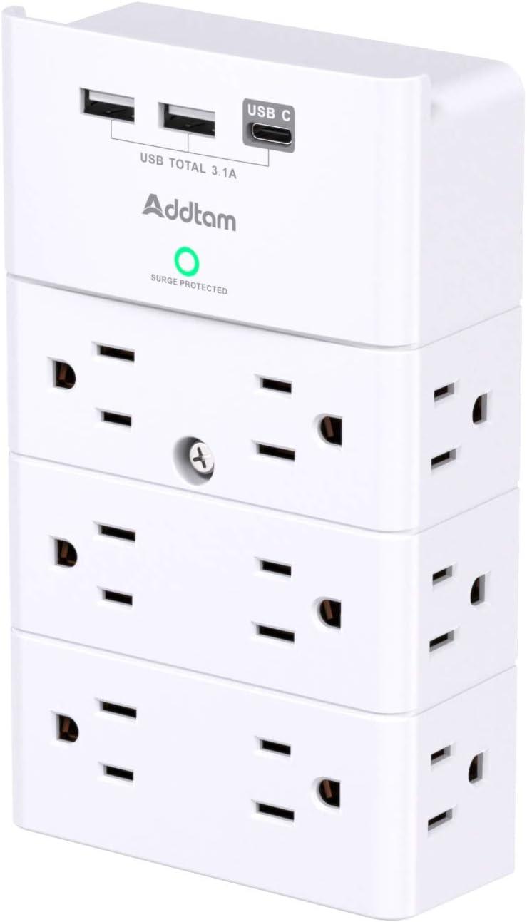 Addtam 3 USB 12 Outlet Multi Plug Outlet $16.13 Coupon