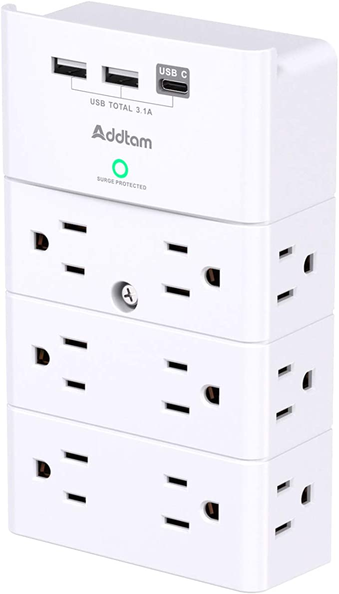 Multi Plug Outlet - Addtam Surge Protector Wall Mount with 12 Outlet Extender- 3 Sides and 3 USB Ports (1 USB-C), Outlet Splitter Power Strip for Home, Office, Hotel, White   Amazon