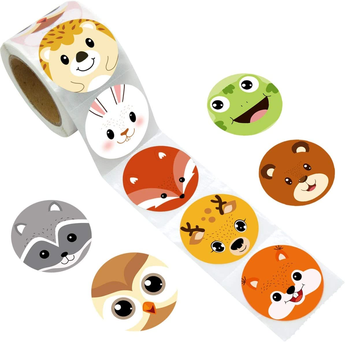 Woodland Friends Animal Stickers Perforated Roll Stickers 200PCS for Kids Party Baby Shower
