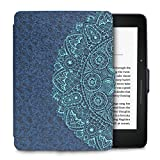 WALNEW Protective Case for Amazon Kindle Voyage(2014)-The Thinnest and Lightest Colorful Painting PU Leather Cover with Auto Sleep/Wake Function,Blue Flower