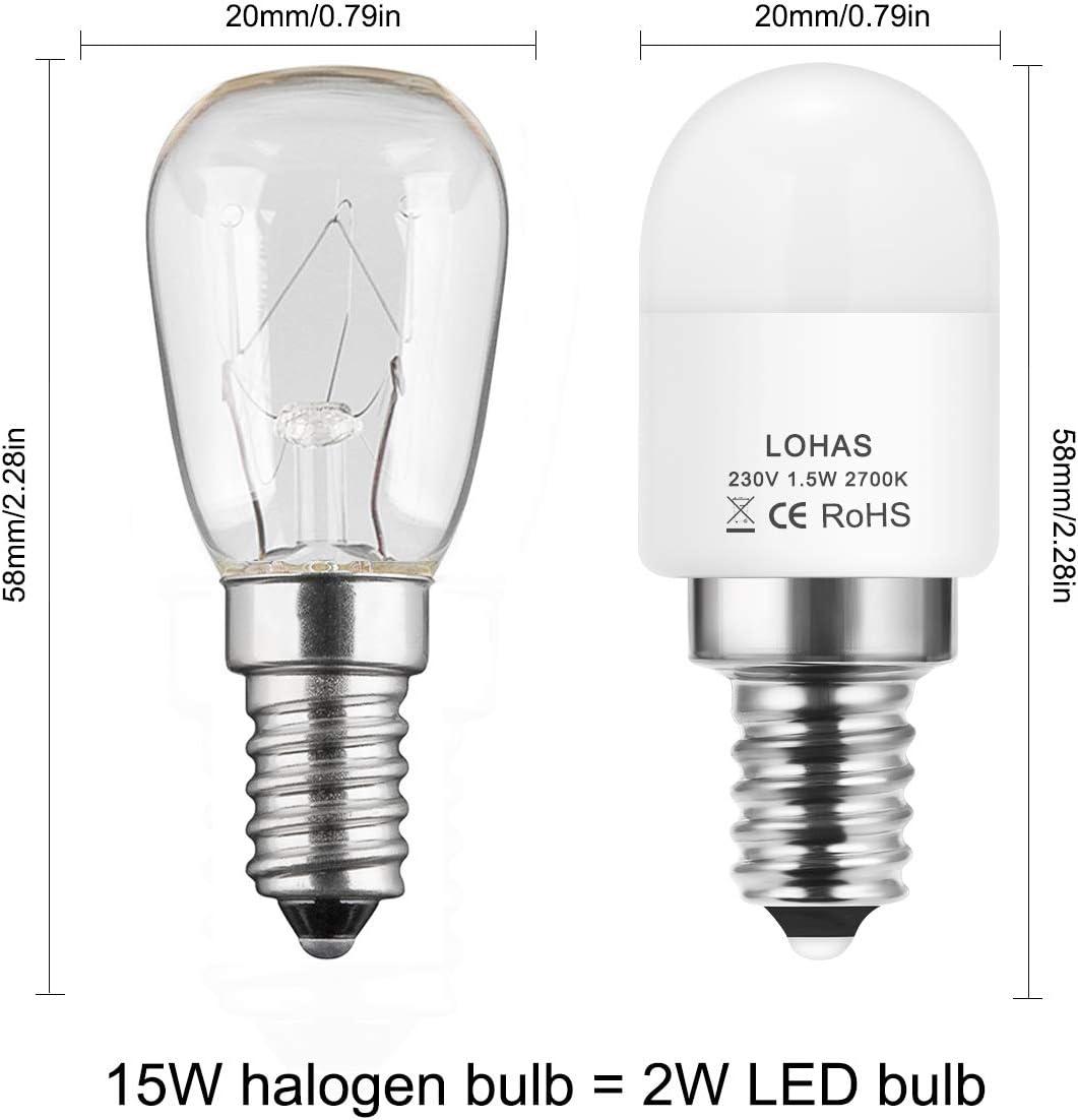 Equivalente a 15W Lámpara Incandescente, LOHAS® E14 LED bombillas, Blanca Cálido 2700K, 150 lúmenes, 360 ° ángulo de haz, Bombilla Led, No Regulable, Luz del refrigerador, 4 Unidades: Amazon.es: Iluminación