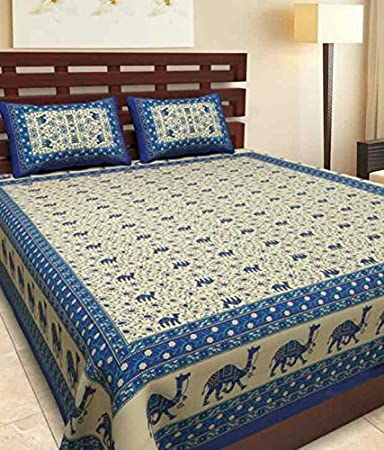6b945880878 Double Bed Sheet With Two Pillow Covers Mugal Art Print Bed sheets Multi  Color Rajasthani Jaipuri