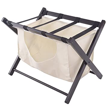 Amazon.com: Tangkula Wood Luggage Rack Suitcase Stand Hamper ...