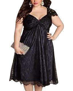 Vestido de Mujer Flores Encaje Talla Grande V-cuello Vestidos de Fiesta