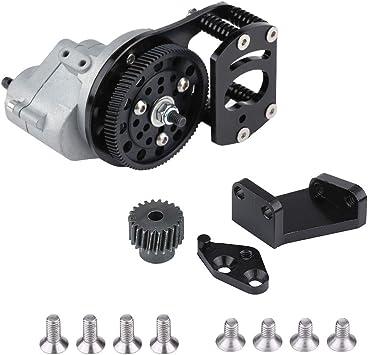 VGEBY1 Caja de Cambios de transmisión de Coche RC, Caja de transmisión de Metal Negro + Plata Soporte de Motor y Soporte de Montaje para SCX10 D90 1/10 RC Car: Amazon.es: Juguetes