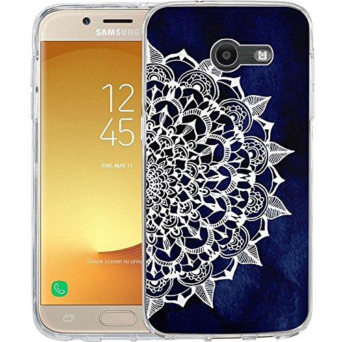 For Samsung Galaxy J7 V / J7 2017 / J7 Prime / J7 Perx / J7 Sky Pro / Galaxy Halo Case, TPU Rubber Soft Skin Silicone Protective Case Cover Midnight Blue Maya Mandala