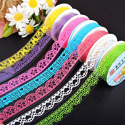 MassMall Cute Lace Flower Clear DIY Decorative Washi Tape Masking Tape Sticky Paper Masking Adhesive Tape Scrapbooking &Phone DIY Decoration 3xRoll (Purple+White+Green)