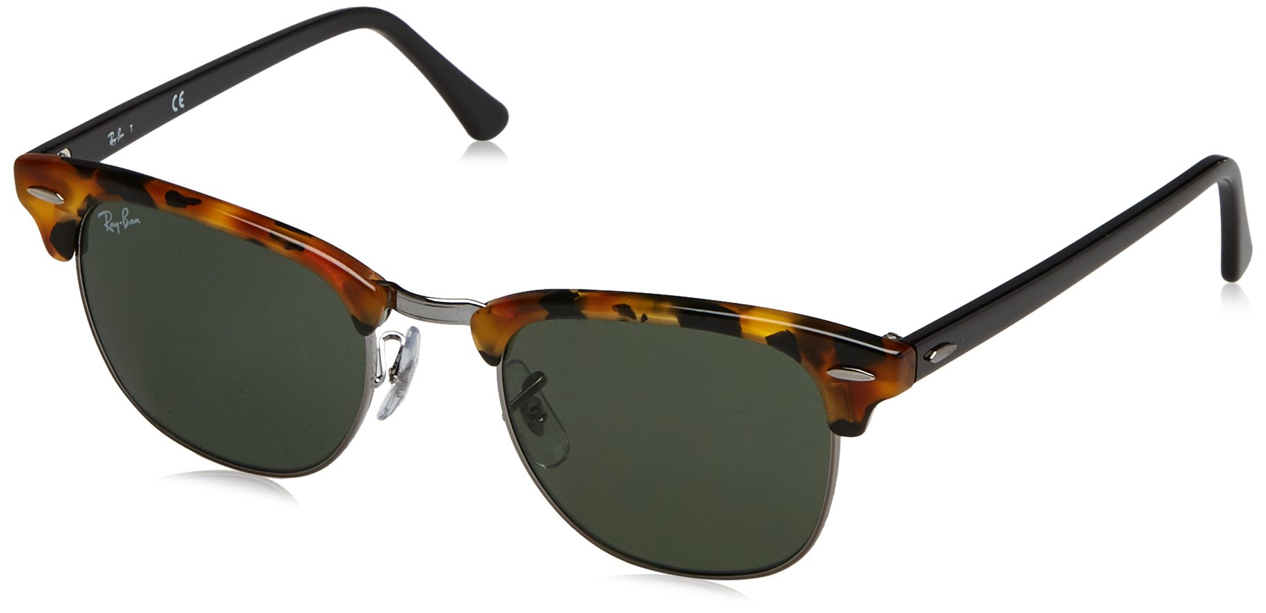 RAY-BAN RB3016 Clubmaster Square Sunglasses, Spotted Black Havana/Green, 49 mm by RAY-BAN