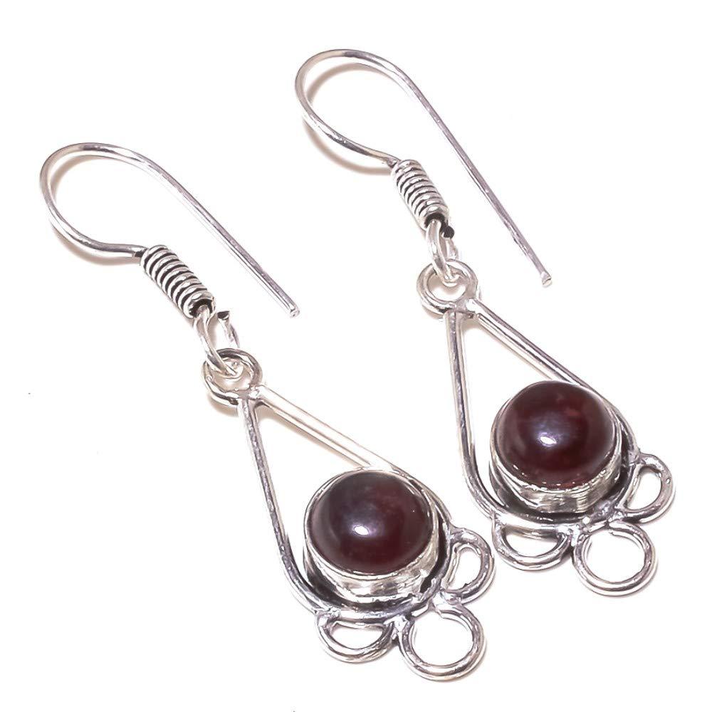 Red Garnet Quartz Sterling Silver Overlay 5 Grams Earring 1.75 Long Fantasy