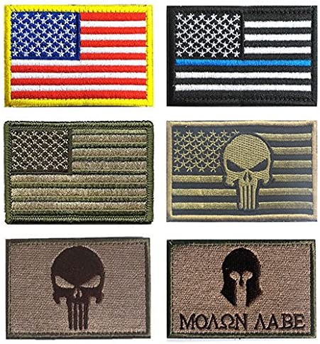 KISEER 12 Pieces US Flag Patch American Flag Punisher Velcro Patches Badges Dont Tread On Me Fully Embroidered Tactical Military Morale Patches Set