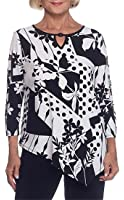 Alfred Dunner Women's Saratoga Springs Leaf Patchwork 3/4 Sleeve Top