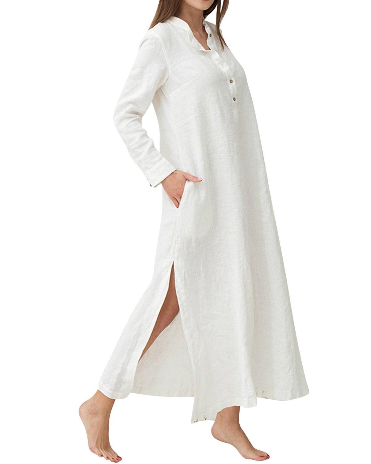 Jacansi Women Vintage Oversized Polo Neck Split Hem Cotton Linen Long Dress White M