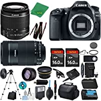 Canon EOS 80D Camera + 18-55mm IS STM + 55-250mm STM + 2pcs 16GB Memory + Case + Memory Reader + Tripod + ZeeTech Starter Set + Wide Angle + Tele + Flash + Battery + Charger