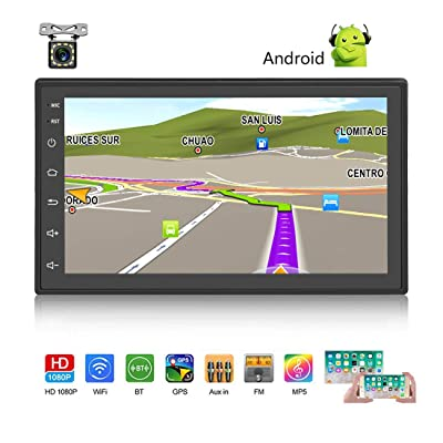 "Android Car Stereo Double Din GPS Navigation Stereo 1G 16G Car Radio with Bluetooth 7"" HD Touch Screen Car MP5 Player Support FM Radio Receiver/WiFi/USB Input/SWC/Mirror Link +12 LED Rear View Camera: GPS & Navigation"