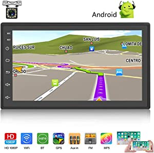 "Android Car Stereo Double Din GPS Navigation Stereo 1G 16G Car Radio with Bluetooth 7"" HD Touch Screen Car MP5 Player Support FM Radio Receiver/WiFi/USB Input/SWC/Mirror Link +12 LED Rear View Camera"