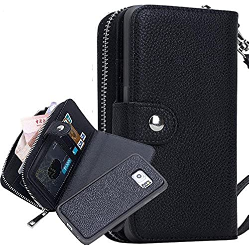 PU Leather Zipper Wristlet Cash Clutch Wallet Card Slot Case Cover for Samsung Galaxy S7 (Black) Sales