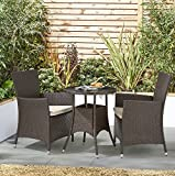 Tesco NEW Corsica Rattan 3 Piece Bistro Garden Dining Table & 2 Chairs - Brown
