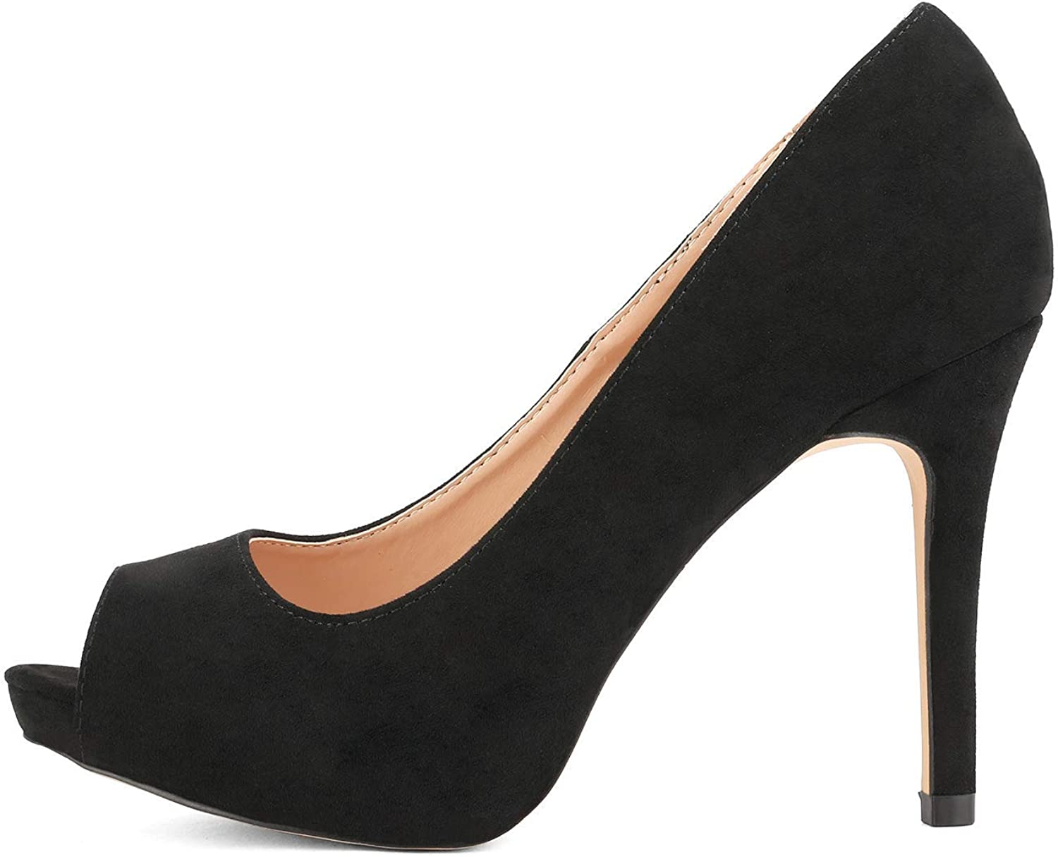 DREAM PAIRS Women's Peep Toe Stiletto High Heels Dress Court Shoes Black Suede
