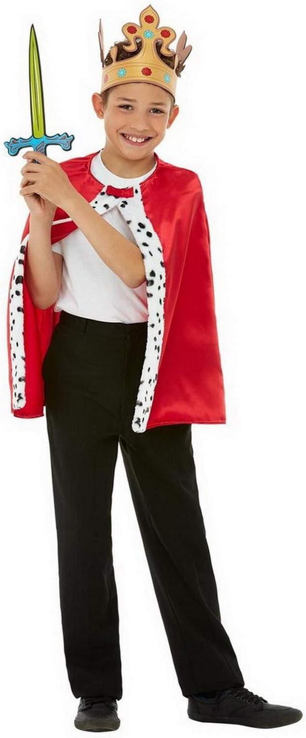 Halloweenia Disfraz de Rey para niños, Capa, Corona y Espada ...