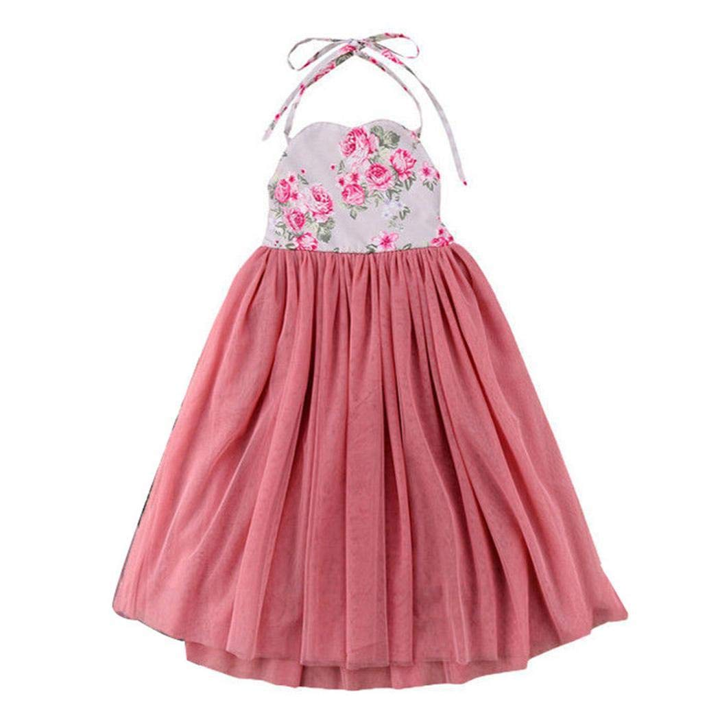00c6951d66a GuGio Kids Girl s Straps Sleeveless Floral Cute Mesh Lace Pleated Long Dress