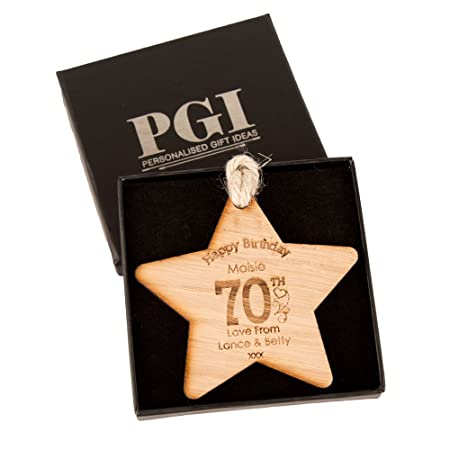 Unique 70th Birthday Gift Wooden Star Personalised Womens For Her Amazoncouk