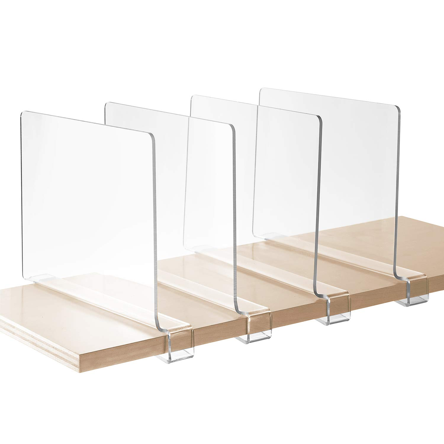 StorageMaid - Set of 4 - Acrylic Shelf Dividers for Bedroom Closets, Kitchen Cabinets, Wood Shelves, Bookcases and Libraries - Versatile, Multi-Functional Organizers for Home and Office - Clear by StorageMaid