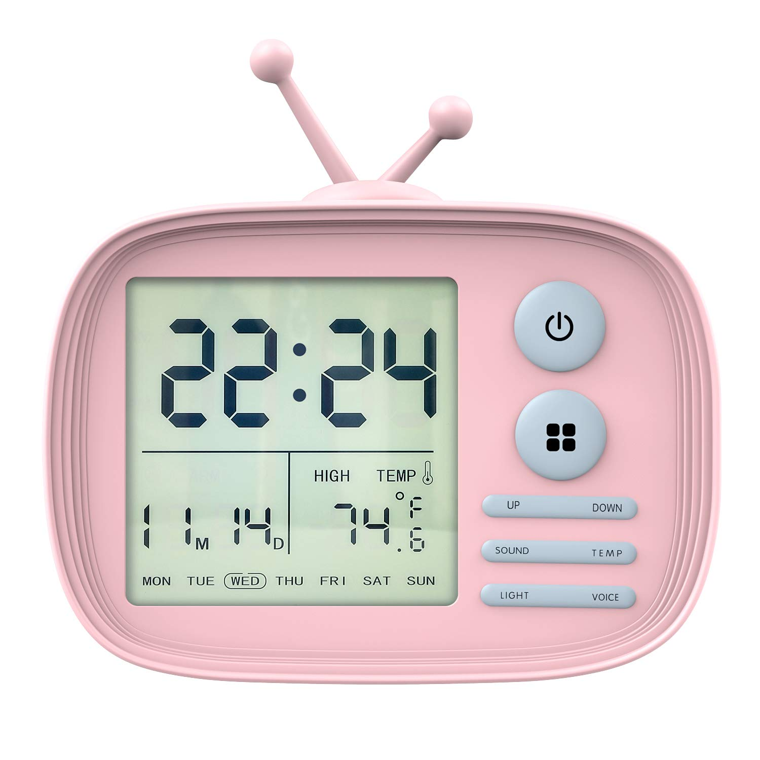 MoKo Kids Alarm Clock, Silicone Case Cute Cartoon TV Digital Clock Bedroom Timer, Date Temperature Display with Snooze/Memory Function, Sound Control Backlight, Rechargeable, USB Powered - Blue LJA-001